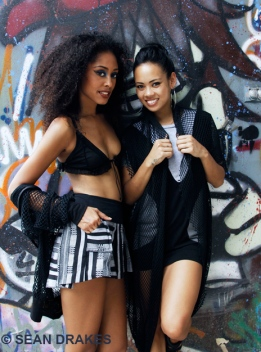 Crystal Cunningham with designer Anya Ayoung-Chee. Photo: Sean Drakes.