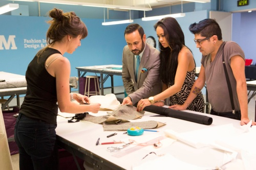 The Mentors: Nick Verreos, Anya Ayoung-Chee and Mondo Guerra in the workroom with Stephanie.