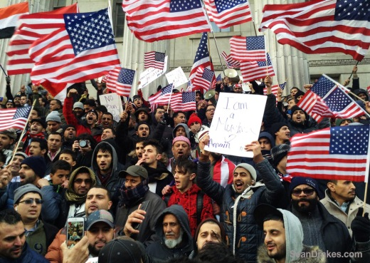 BROOKLYN, NEW YORK - FEBRUARY 02: Yemeni-American business owners from across the New York City area protest the Muslim ban imposed by US President Donald J. Trump outside Borough Hall in Brooklyn on February 02, 2017 in New York. (Photo by Sean Drakes)